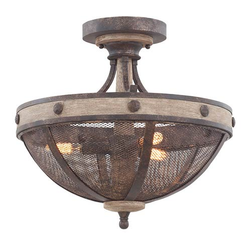 Coronado Florence Gold Three-Light Semi-Flush