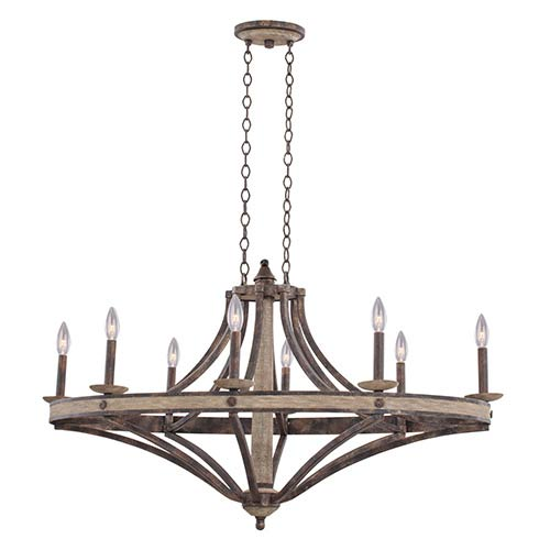 Coronado Florence Gold 44-Inch Wide Eight-Light Chandelier