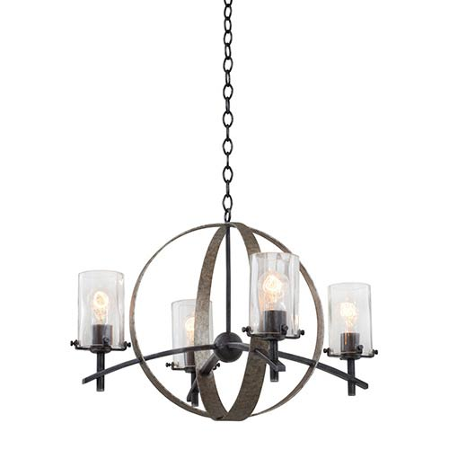 Kalco Lighting Irvine Vintage Iron Four-Light Chandelier