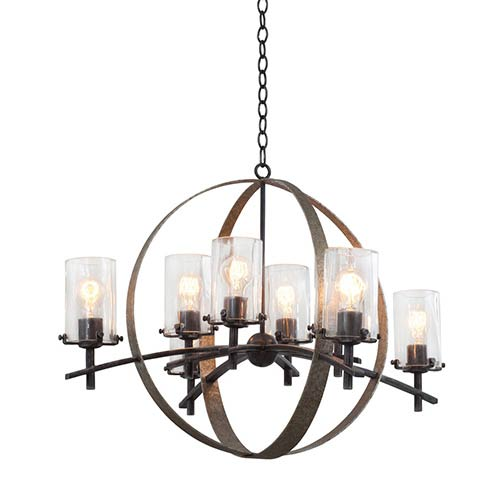 Irvine Vintage Iron Eight-Light Chandelier