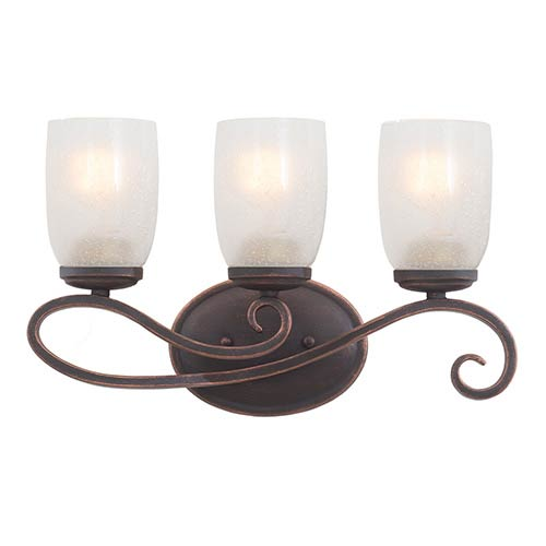 Kalco Lighting Castaic Antique Copper Three-Light Bath Fixture