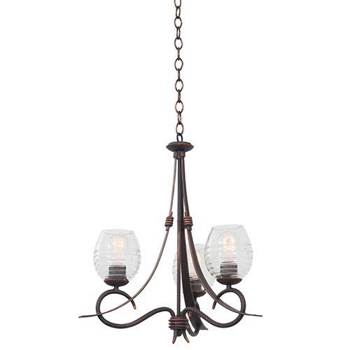 Kalco Lighting Seabrook Antique Copper Three-Light Chandelier