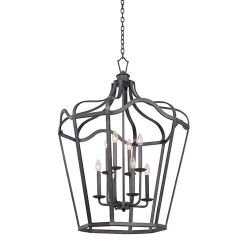 Kalco Lighting Livingston Charcoal Six-Light Large Lantern with Soft Cream Shade