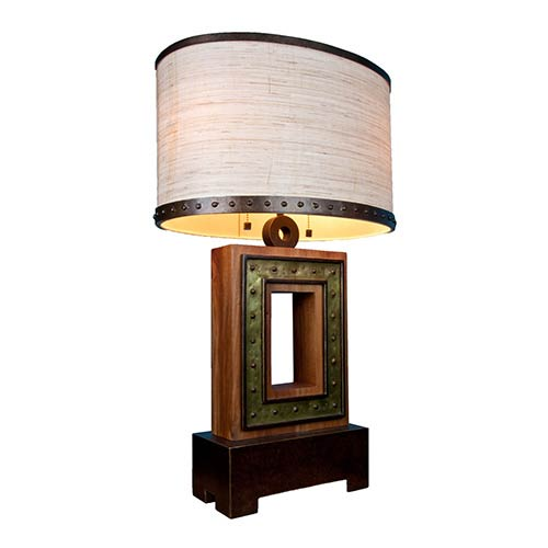Aspen Natural Iron Two-Light Square Table Lamp