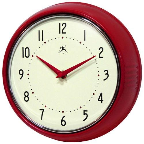 Infinity Instruments Retro Red Metal Wall Clock