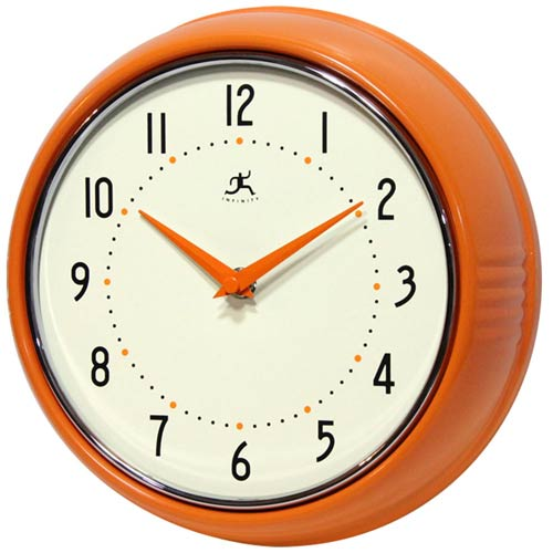 Infinity Instruments Retro Orange Metal Wall Clock