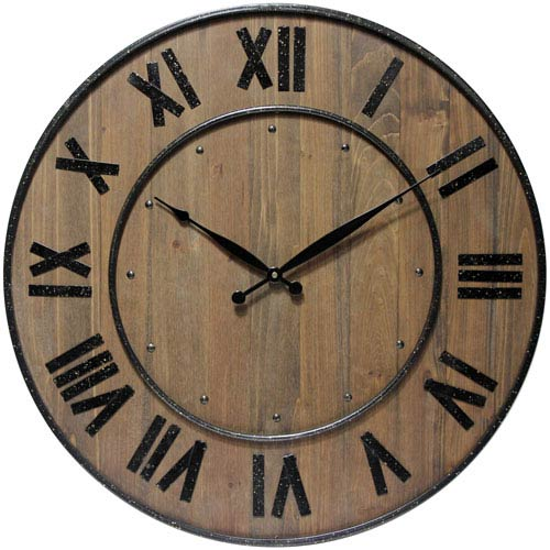Brown Wine Barrel Wall Clock