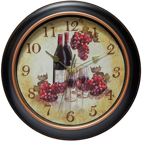 Black and Rose Gold Wine Wall Clock