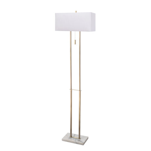 Emilio Antique Brass and Marble Two-Light Shaded Floor Lamp