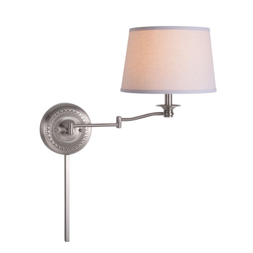 Riverside Brushed Steel One-Light Swing Arm