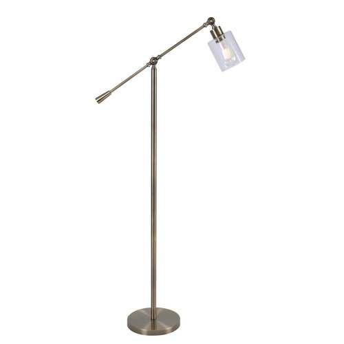Thornton Antique Brass One-Light Shaded Floor Lamp