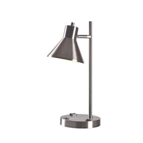 Ash Brushed Steel One-Light USB Desk Lamp