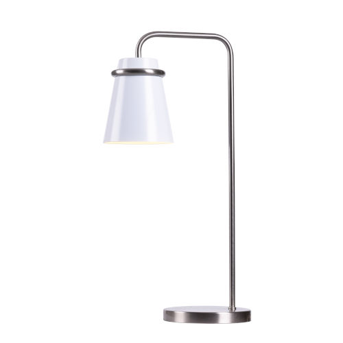 Levi White and Brushed Steel One-Light Desk Lamp