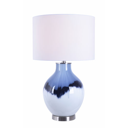 Eleanor White and Blue Art Glass One-Light Accent Table Lamp