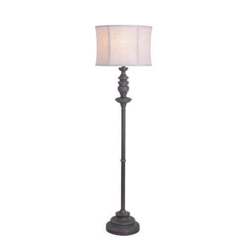 Rosa Gray Walnut Wood One-Light Shaded Floor Lamp