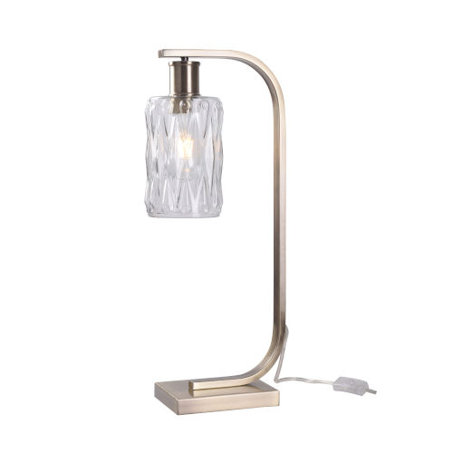 Maguire Antique Brass and Faceted Clear Glass One-Light Desk Lamp