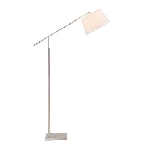 Everett Brushed Steel One-Light Adjustable Arm Floor Lamp