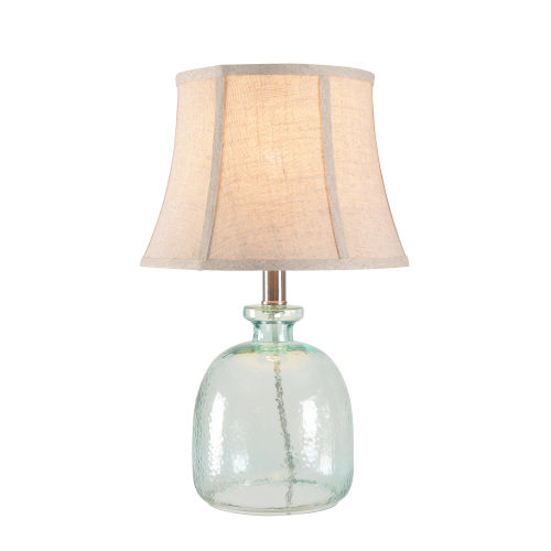 Sydney Aqua Tinted Glass And Brushed Steel One-Light Shaded Table Lamp