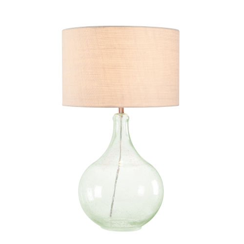 Rhone Seeded Glass and Green Hue One-Light Shaded Table Lamp