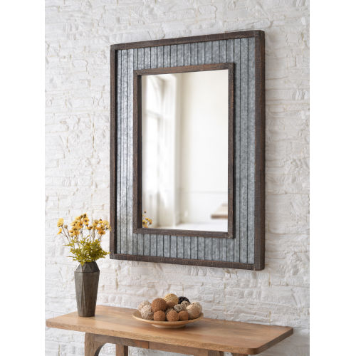 Westbend Galvanized and Distressed Wood Wall Mirror
