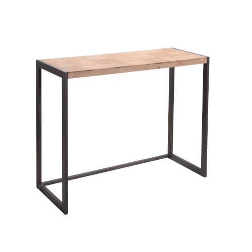 Natural Wood and Iron Console Table