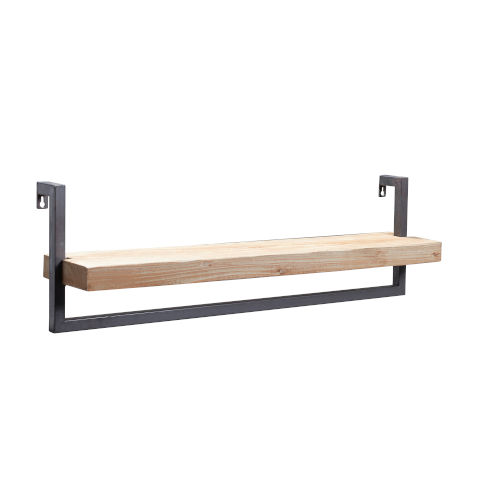 Cantille Natural Wood and Iron Wall Shelf