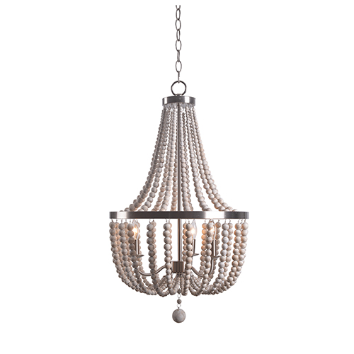 Dumas Brushed Steel with Weathered White Beads Three-Light Wood Bead Chandelier