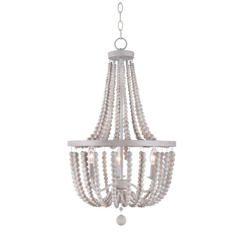Dumas White and Weathered White Bead Three-Light Chandelier