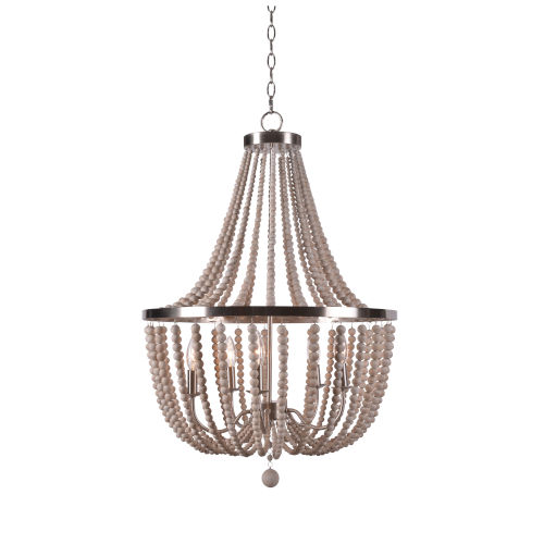 Dumas Brushed Steel with White Wood Beads Five-Light Wood Bead Chandelier