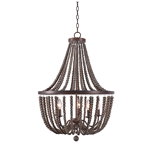 Dumas Golden Bronze with Gray Wood Beads Five-Light Wood Bead Chandelier