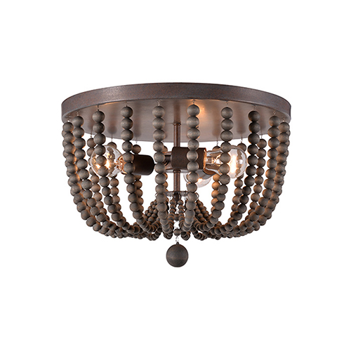 Dumas Golden Bronze with Gray Wood Beads Three-Light Wood Bead Flush Mount