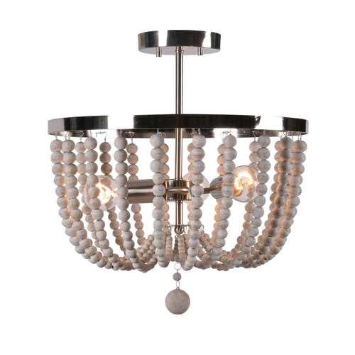 Dumas Brushed Steel with Distressed White Wood Beads Three-Light Wood Bead Semi Flush