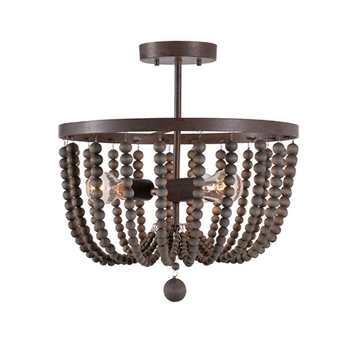 Dumas Golden Bronze with Gray Wood Beads Three-Light Wood Bead Semi Flush
