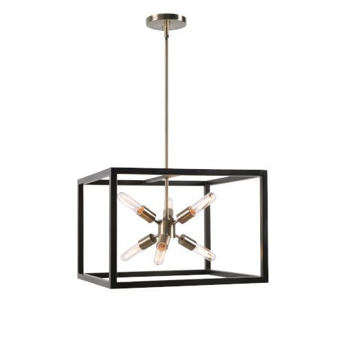 Coral Black and Antique Brass Six-Light Pendant