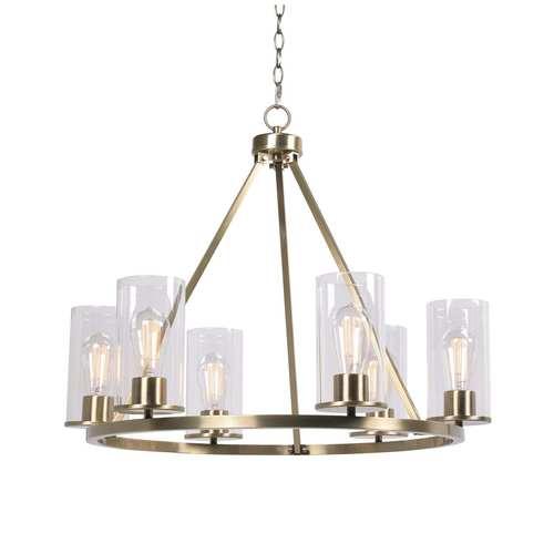 Hixon Antique Brass and Clear Glass Six-Light Chandelier