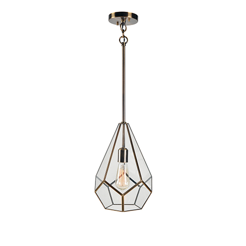 Gemma Clear Glass with Burnished Antique Metal One-Light Mini Pendant