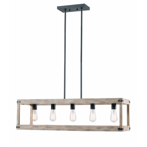 Swanson Distressed White Woodgrain and Graphite Five-Light Island Pendant
