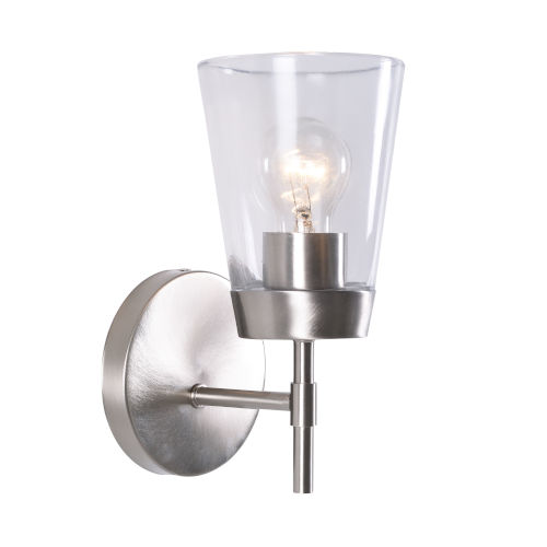 Delgado 1 Brushed Steel and Clear Glass Wall Sconce