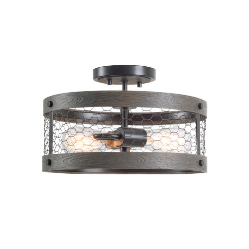 Cozy Wood and Oil Rubbed Bronze Two-Light Semi-Flush Mount