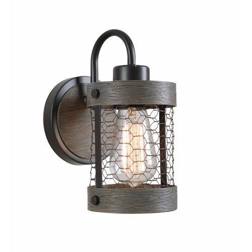 Cozy Wood and Oil Rubbed Bronze Wall Sconce