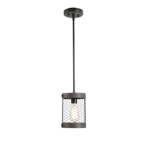 Cozy Wood and Oil Rubbed Bronze One-Light Mini Pendant
