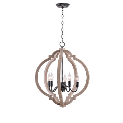 Cadmen Weathered White and Distressed Black Five-Light Chandelier