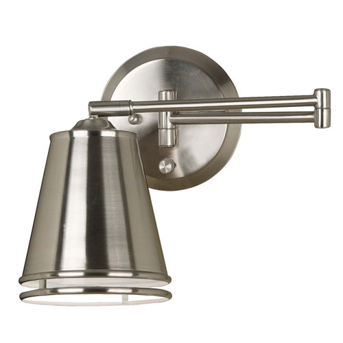 Metro Brushed Steel Swing Arm Wall Lamp
