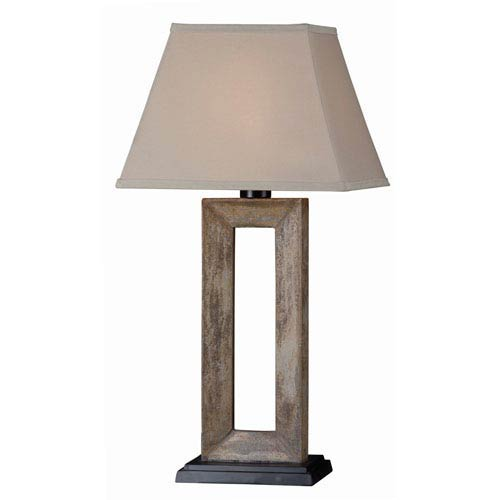 Egress Natural Slate One-Light Outdoor Table Lamp with Cream Tapered Rectangular Shade