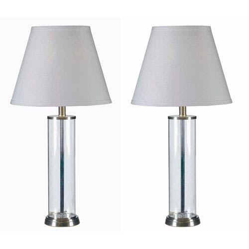 Echo Glass with Brushed Steel Accents Two-Pack Table Lamp