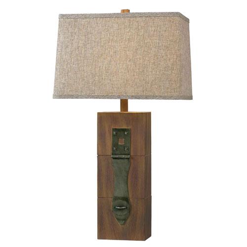 Locke Dark Wood Grain Table Lamp