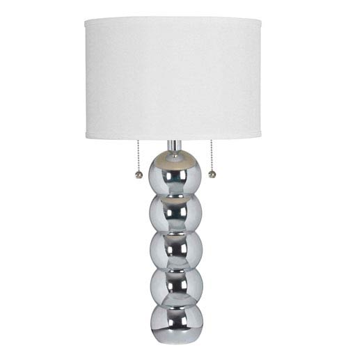 Kenroy Home Bolero Chrome Two-Light Table Lamp with White Drum Shade