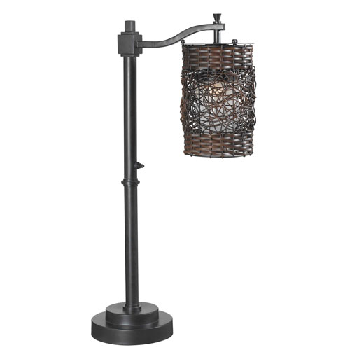 Kenroy Home Brent Oil Rubbed Bronze One-Light Outdoor Table Lamp with Weave Patterned Drum Shade