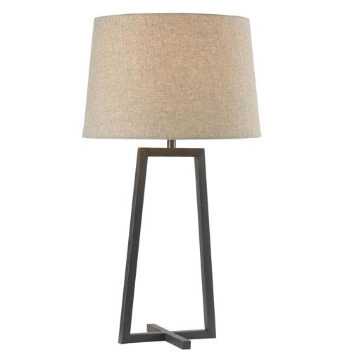 Ranger Oil Rubbed Bronze One-Light Table Lamp with Oatmeal Tapered Drum Shade