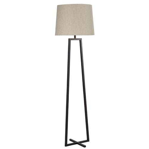 Kenroy Home Ranger Oil Rubbed Bronze One-Light Floor Lamp with Oatmeal Tapered Drum Shade